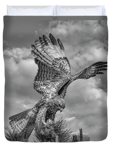 Red Tailed Hawk Wings Bw Duvet Cover