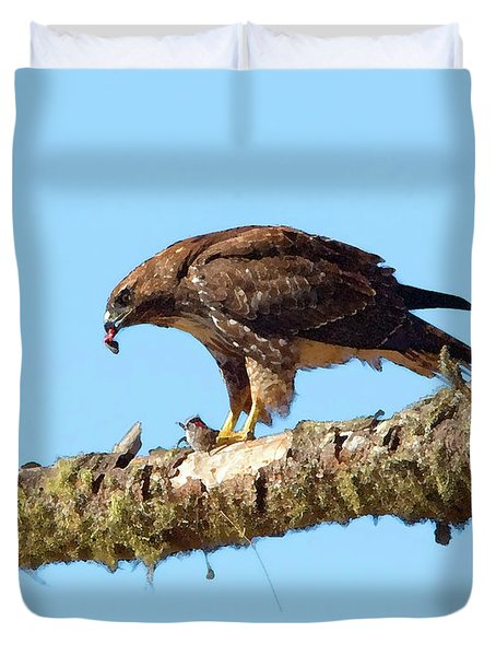 Red-tailed Hawk With Prey Duvet Cover by Betty LaRue