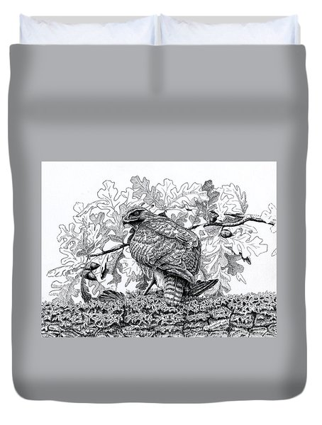 Red Tailed Huntress Duvet Cover