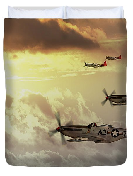 Red Tails Duvet Cover by J Biggadike