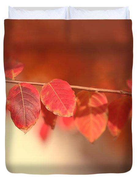 Red Tallo Leaves Duvet Cover