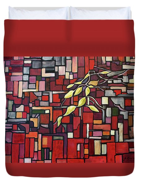 Duvet Cover featuring the painting Red Tango by Joanne Smoley