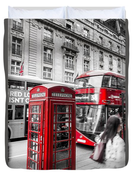 Red Telephone Box With Red Bus In London Duvet Cover
