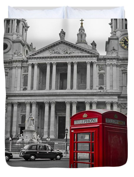 Red Telephone Boxes In London Duvet Cover