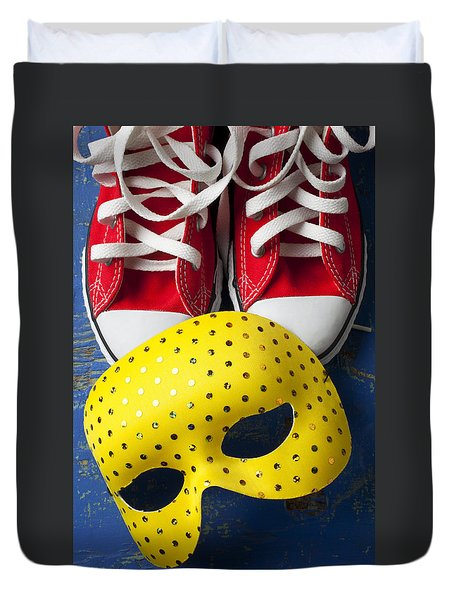 Red Tennis Shoes And Mask Duvet Cover by Garry Gay