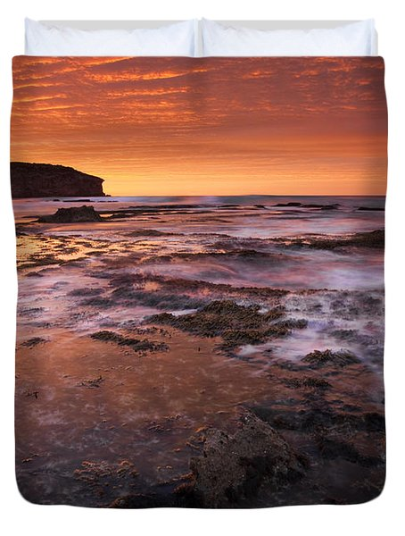 Red Tides Duvet Cover by Mike  Dawson
