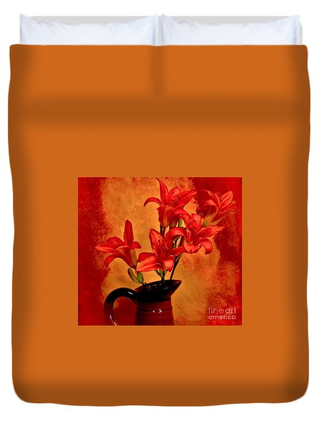 Red Tigerlilies In A Pitcher Duvet Cover by Marsha Heiken