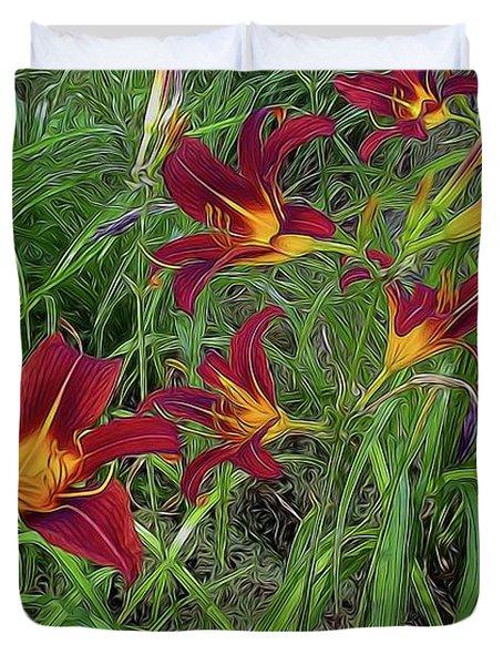 Red Tigerlily Garden Duvet Cover