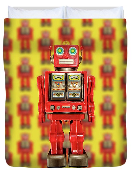 Red Tin Toy Robot Pattern Duvet Cover by YoPedro