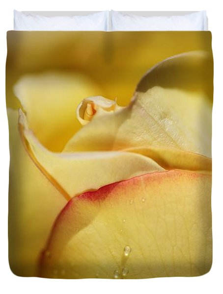 Red Tipped Yellow Rose Duvet Cover