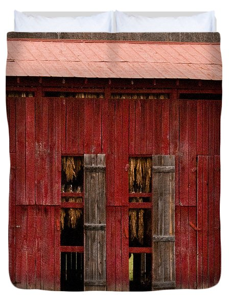 Red Tobacco Barn Duvet Cover