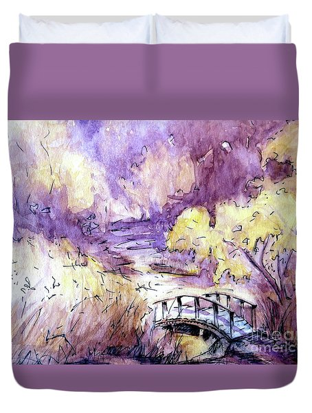 Red Top Mountain Bridge Duvet Cover