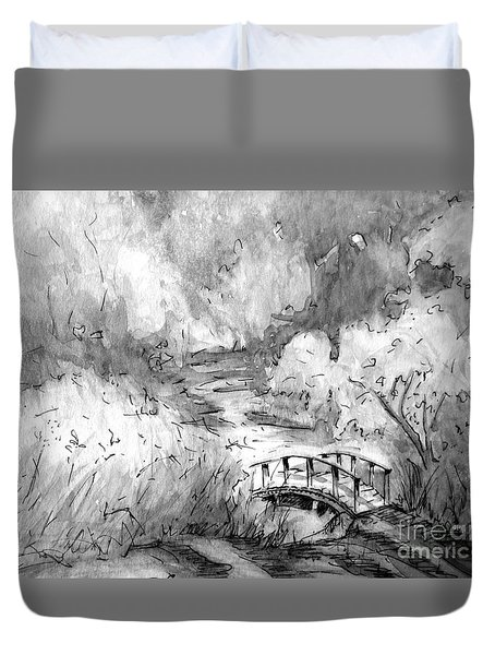Red Top Mountain Bridge In Black And White Duvet Cover