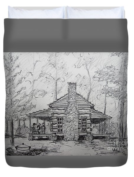 Red Top Mountain's Log Cabin Duvet Cover