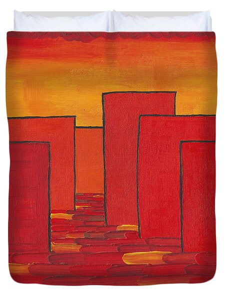 Red Town P1 Duvet Cover