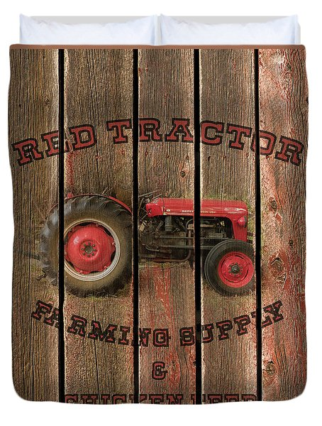 Red Tractor Farming Supply Duvet Cover