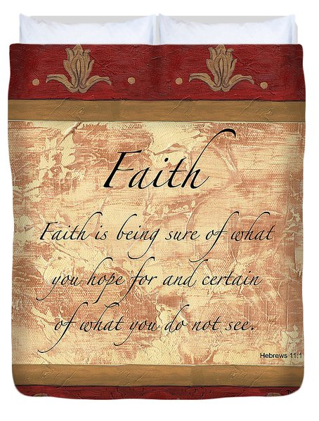 Red Traditional Faith Duvet Cover by Debbie DeWitt