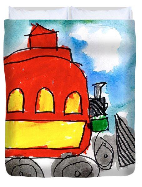 Red Train Duvet Cover