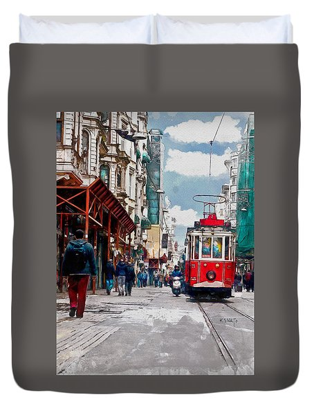 Duvet Cover featuring the digital art Red Tram by Kai Saarto