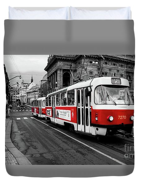 Prague - Red Tram Duvet Cover