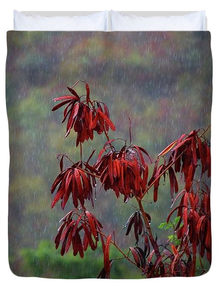 Red Tree In The Rain Duvet Cover