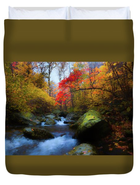 Red Tree In White Oak Canyon Duvet Cover