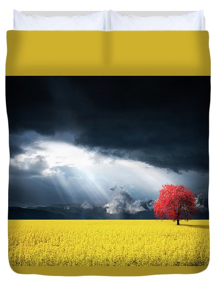 Red Tree On Canola Meadow Duvet Cover