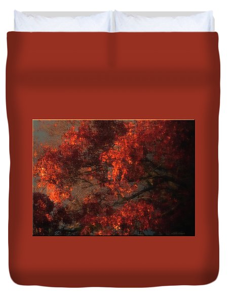 Red Tree Scene Duvet Cover