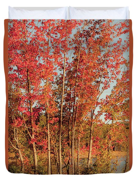 Duvet Cover featuring the photograph Red Trees by Iris Greenwell