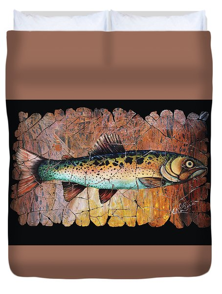 Red Trout Fresco Duvet Cover