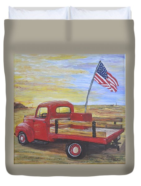 Duvet Cover featuring the painting Red Truck by Debbie Baker
