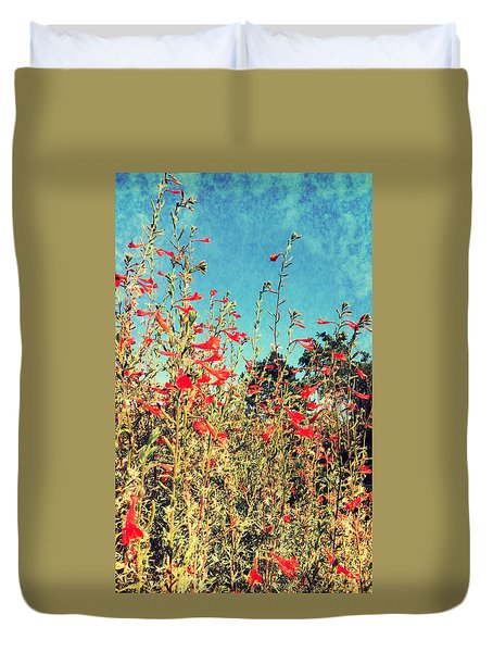 Red Trumpets Playing Duvet Cover