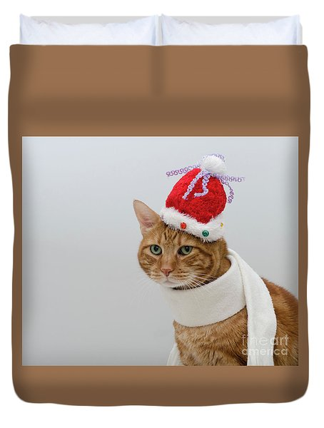 Red Tubby Cat Tabasco Christmas Hat Duvet Cover