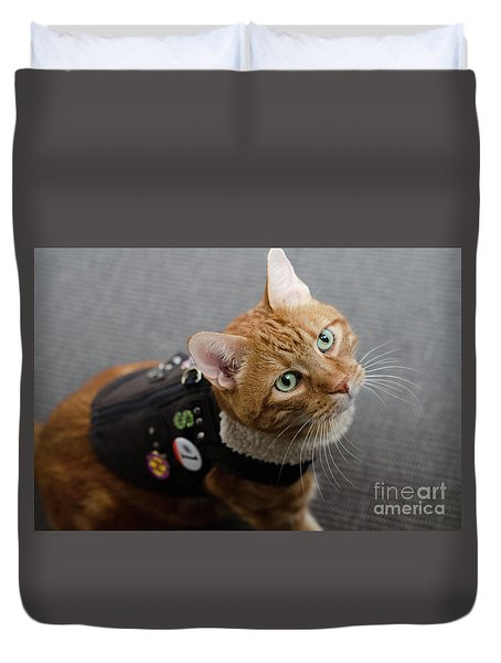Red Tubby Cat Tabasco Jacket Duvet Cover
