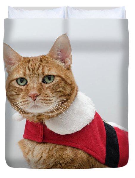 Red Tubby Cat Tabasco Santa Clause Duvet Cover
