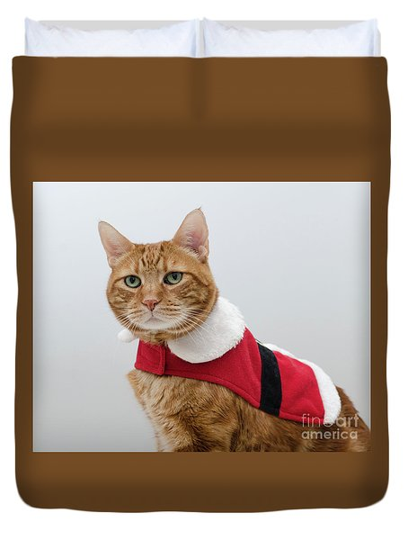 Red Tubby Cat Tabasco Santa Clause Duvet Cover