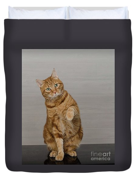 Red Tubby Cat Tabasco Waiving Duvet Cover