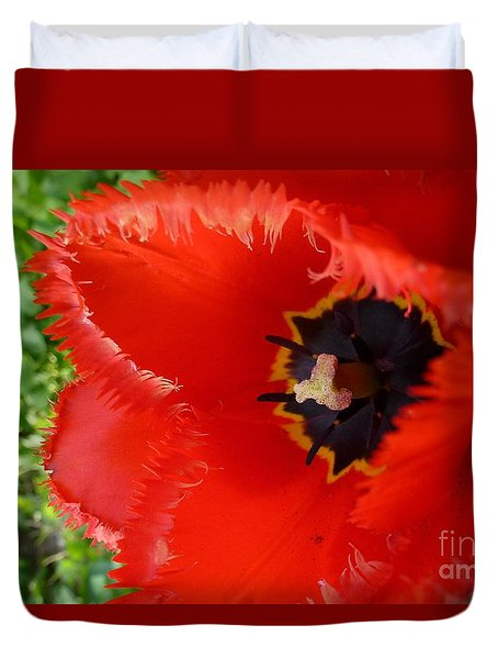 Duvet Cover featuring the photograph Red Tulip by Jean Bernard Roussilhe
