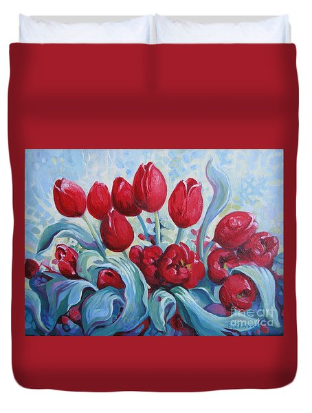 Duvet Cover featuring the painting Red Tulips by Elena Oleniuc