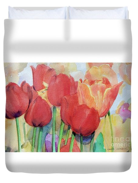 Watercolor Of Blooming Red Tulips In Spring Duvet Cover