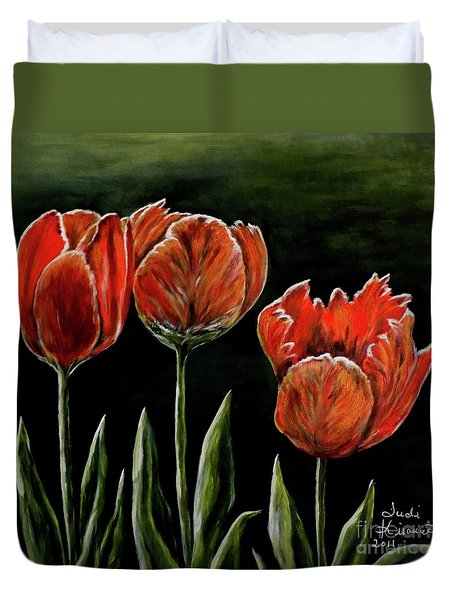 Duvet Cover featuring the photograph Red Tulips by Judy Kirouac