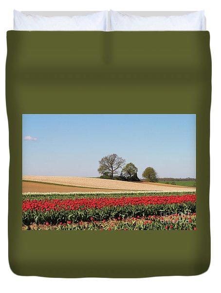 Red Tulips Landscape Duvet Cover