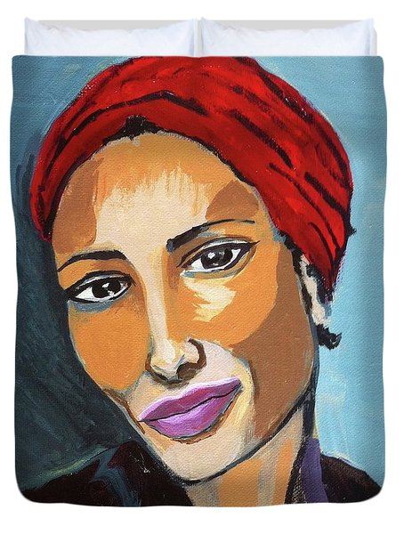 Red Turban Duvet Cover