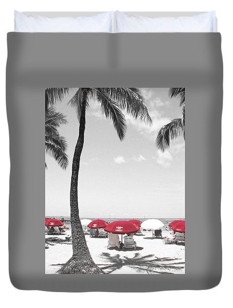 Red Umbrellas On Waikiki Beach Hawaii Duvet Cover by Kerri Ligatich
