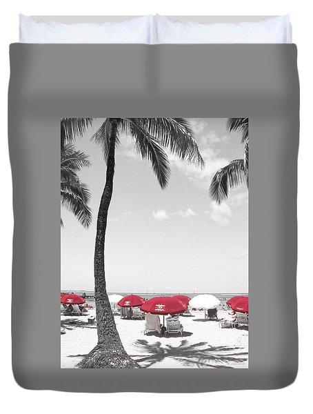 Duvet Cover featuring the photograph Red Umbrellas On Waikiki Beach Hawaii by Kerri Ligatich