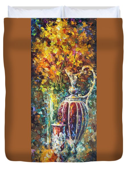 Red Vase Duvet Cover by Leonid Afremov