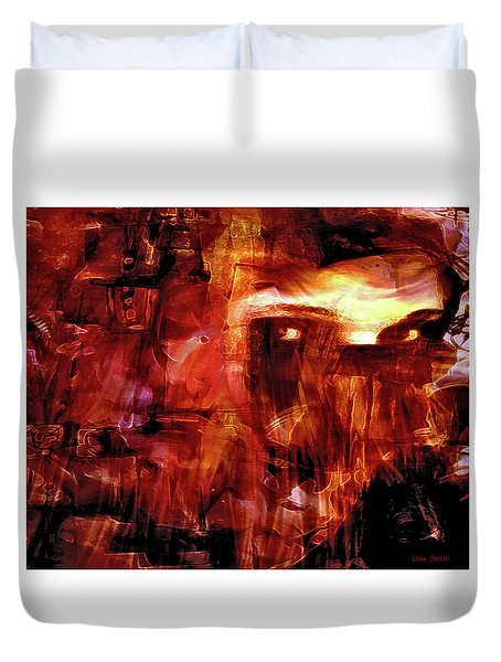 Duvet Cover featuring the photograph Red Veil by Linda Sannuti
