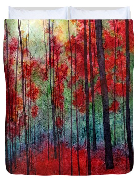 Duvet Cover featuring the painting Red Velvet by Hailey E Herrera