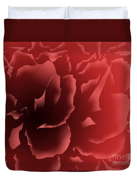 Red Velvet Peony Duvet Cover