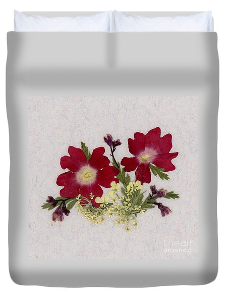 Red Verbena Pressed Flower Arrangement Duvet Cover